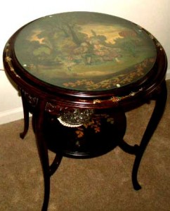 Antique Table with Original Oil Painting - SOLD