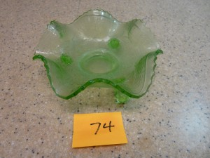 Green Fluted Bowl with Feet
