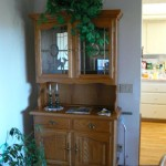 shingle springs estate sale, oak china hutch