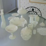 cameron park estate sale, milkglass collection