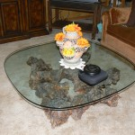 shingle springs estate sale, burlwood coffee table
