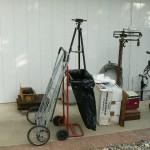 cameron park estate sale scales, tripod, handcart