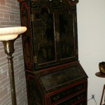 Beautiful Chinese black lacquer Secretary with gilt and red painting