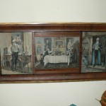 Antique prints in triple frame