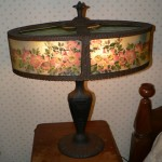 Antique reverse painted lamp, oval shade