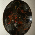 "Huge Oriental hand carved, inlaid and painted wood ""bowl"" wall hanging"