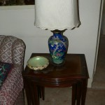 Nesting tables, Chinese lamp