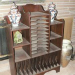 Antique sheet music cabinet and Lidded Ginger Jars