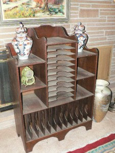 Antique sheet music cabinet and Lidded Ginger Jars