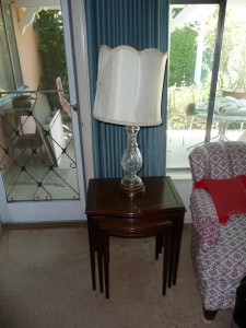 Nesting table and crystal lamp