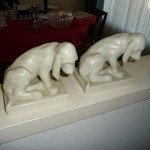 Pair of Rookwood hound bookends