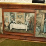 Antique triple frame with prints