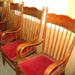 Set of 4 antique oak lodge armchairs