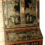 Chinese drop front secretary, black lacquer, gilt painting with red accents