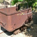 Antique mining cart and tracks