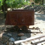 Antique ore cart and tracks, 3 available