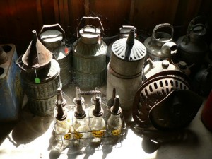Collection of vintage auto garage implements
