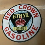 Original Red Crown Gasoline double sided tin and enamel advertising sign, incredible condiiton