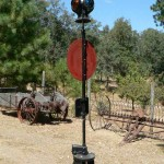 Railroad signal lantern and post