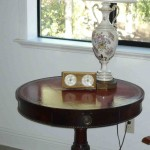 Duncan Phyfe parlor table and lamp