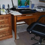 Oak desk and file cabinets