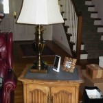 Pair of Slate top end tables and lamps