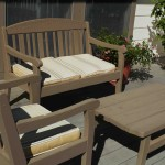 Patio settee, chair and table