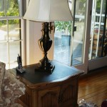 Slate top end table and lamp