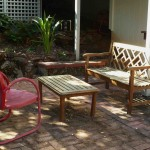 Vintage lawn chair and patio settee