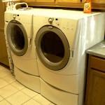Duet washer and dryer on pedestals