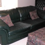 Leather sofa and ottoman