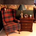 Wing chair and lamp