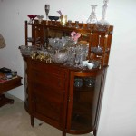 Arts and Crafts oak buffet, Crystal compotes, bowls, decanters and vases