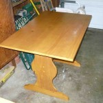Oak trestle table with 2 benches
