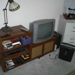 TV, cabinet, file cabinet, lamp