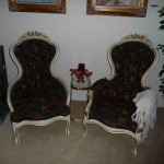 Vintage Victorian style lady and gentleman's arm chairs