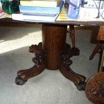 claw foot round oak table