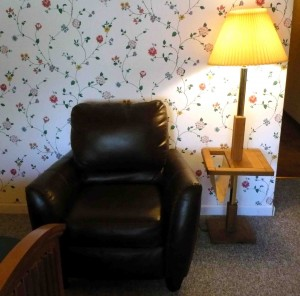 leather chair and lamp table