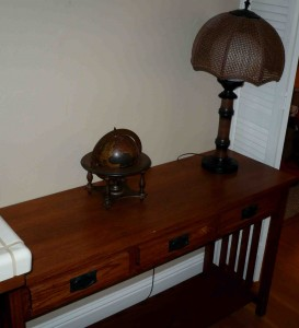 sofa table lamp and globe